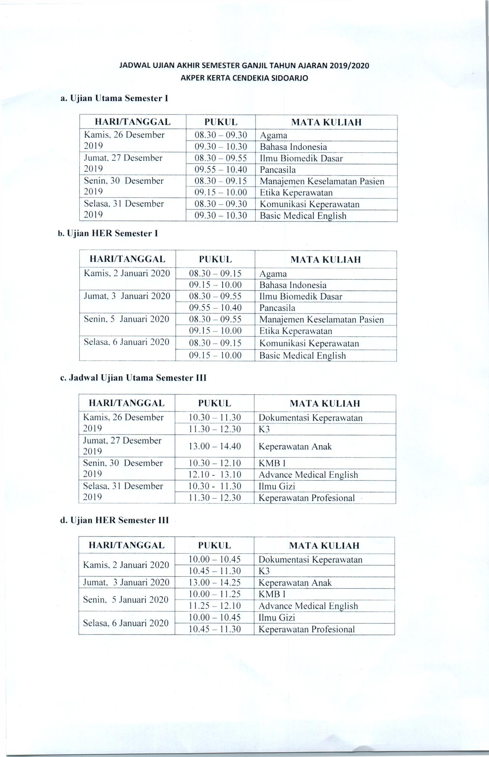 Jadwal Ujian Akhir Semester I dan III Tahun Akademik 2019/2020